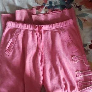 Pink drawstring sweat pants